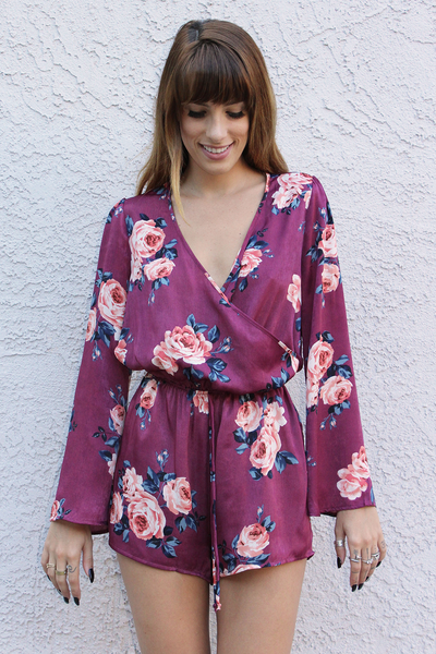 Purple Bell Sleeve Floral Romper