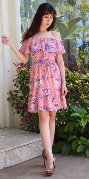 off shoulder open back pink floral print dress with ruffle skirt