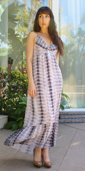 Grey Tie Dye Maxi Dress