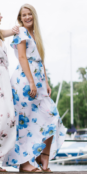 White & Blue Floral Wrap Maxi Dress