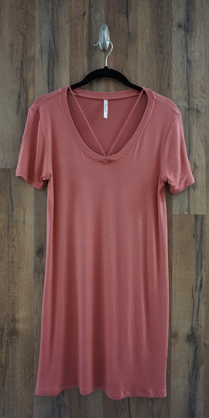 Pink Caged V Neck Jersey Knit T-Shirt Dress