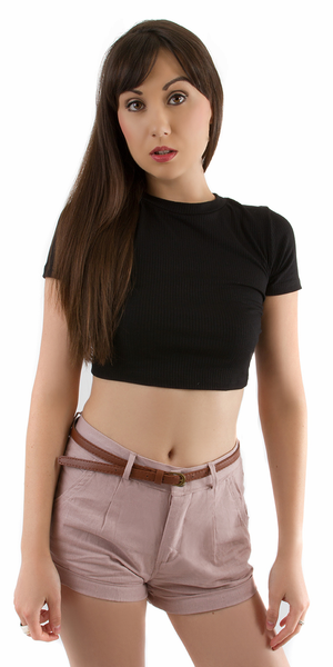 Black Ribbed Lattice Back Crop Top