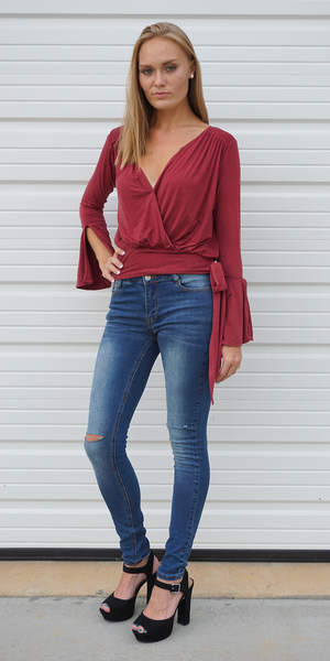 Wrap Bell Sleeve Top