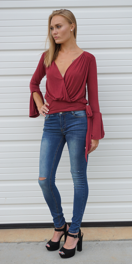 Red Beaded Ruffle Silk Charmeuse Top