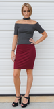 Red Solid Stretch Mini Skirt