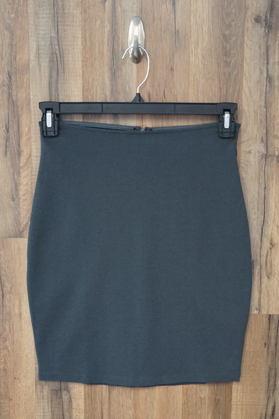 Grey Solid Stretch Mini Skirt