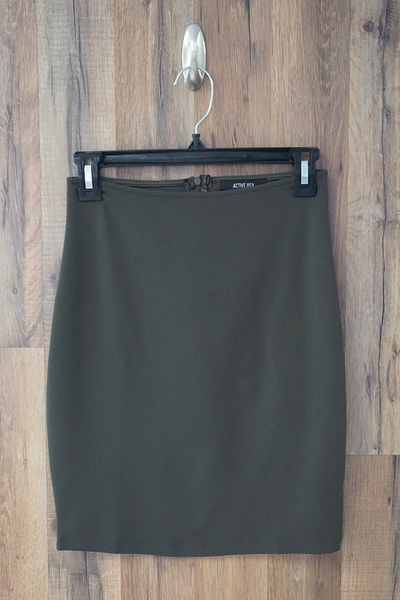 Green Solid Stretch Mini Skirt