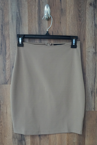 Beige Solid Stretch Mini Skirt