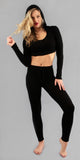 Black Hooded Crop Top & Leggings Set