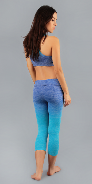 Blue Active Yoga Wear Bra And Capri Set