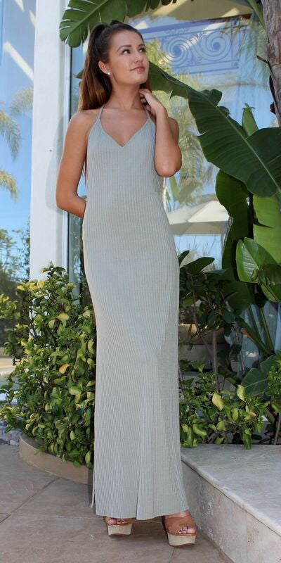 Smoke Green Ribbed Knit spaghetti Strap Tank Dress