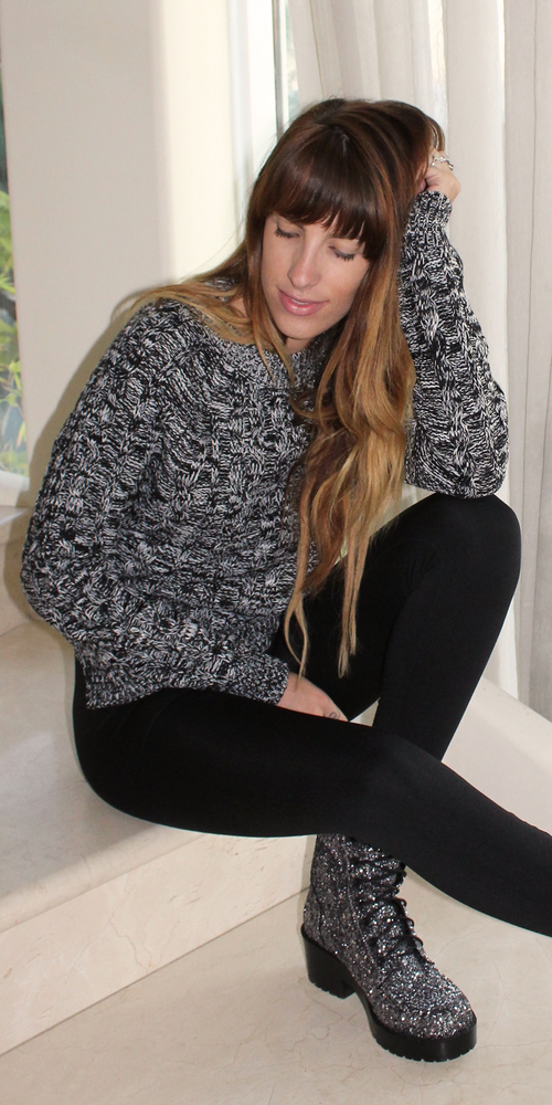 Black Marled Cable Knit Sweater
