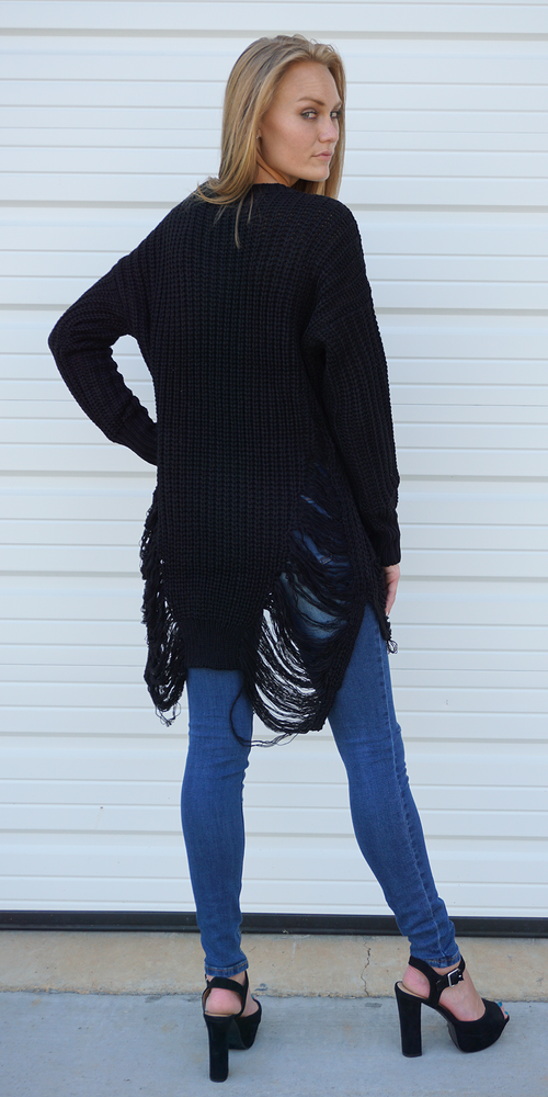 Black Long Sleeve Distressed Long Sweater