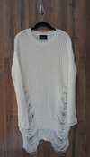 White Long Sleeve Distressed Long Sweater