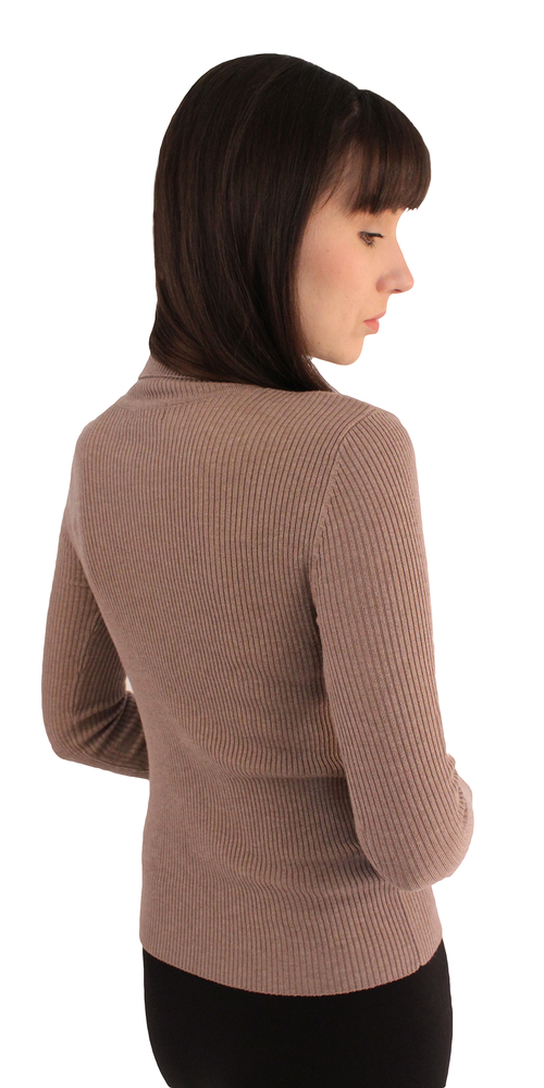 Taupe Long Sleeve Ribbed Knit Turtleneck
