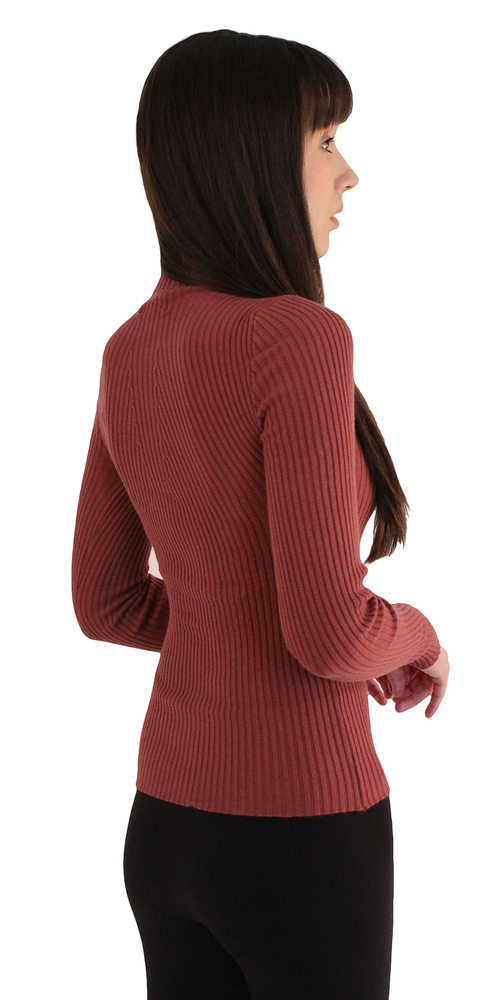 Mauve Red Long Sleeve Ribbed Mock Turtleneck