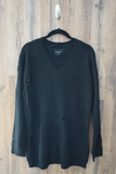 Black Distressed Over-Sized-Boyfriend Sweater