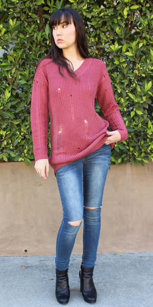 Pink Distressed Over-Sized-Boyfriend Sweater