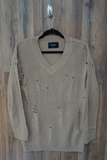 Beige Distressed Over-Sized-Boyfriend Sweater