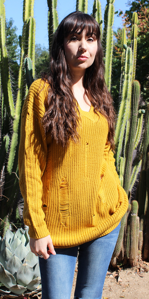 Yellow Distressed Over-Sized-Boyfriend Sweater