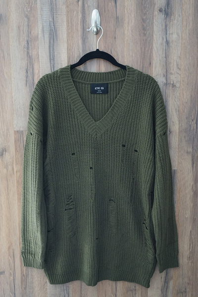 Green Distressed Over-Sized-Boyfriend Sweater