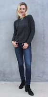 Grey High Low Cable Knit Sweater