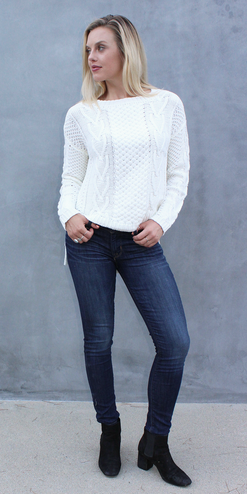 White High Low Cable Knit Sweater