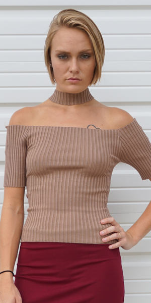 Khaki Beige Ribbed Choker Neck Off Shoulder Top
