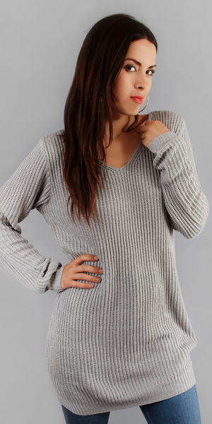 Grey Long Loose Fit Sweater