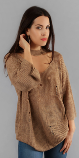 Khaki Beige Distressed Choker Neck Sweater