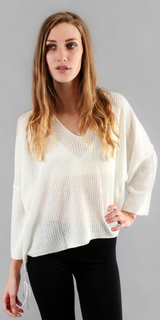 White Oversized Pullover Knit Sweater