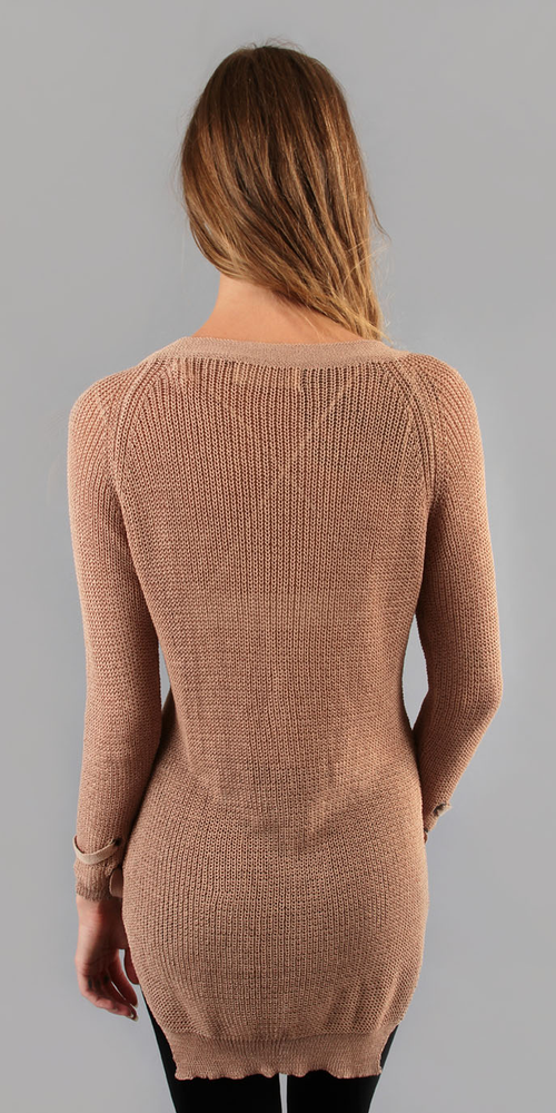 Nude Lace Up Long Knit Sweater