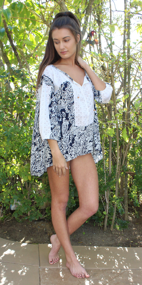 Blue & White Paisley Crochet Tunic Top