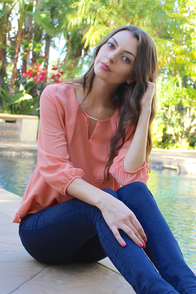 Peach Coral Embellished Keyhole Crepe Blouse