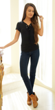 Black Lace Up Ribbed Knit Top