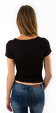 Black Fitted Criss Cross T Shirt
