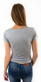 Grey Fitted Criss Cross T Shirt