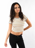Yellow Striped Crop Short Sleeve T-Shirt