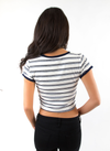 Blue Striped Crop Short Sleeve T-Shirt