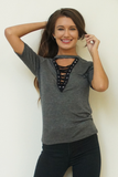 Grey Short Sleeve Choker Neck Top