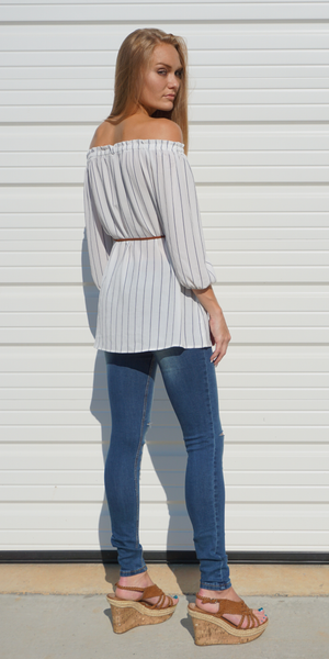 White Striped Off Shoulder Tunic Top