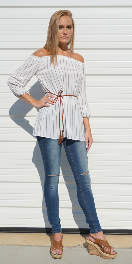 Oversized Drop Shoulder Striped T Shirt