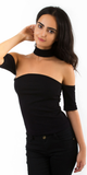 Black Ribbed Off Shoulder Choker Top