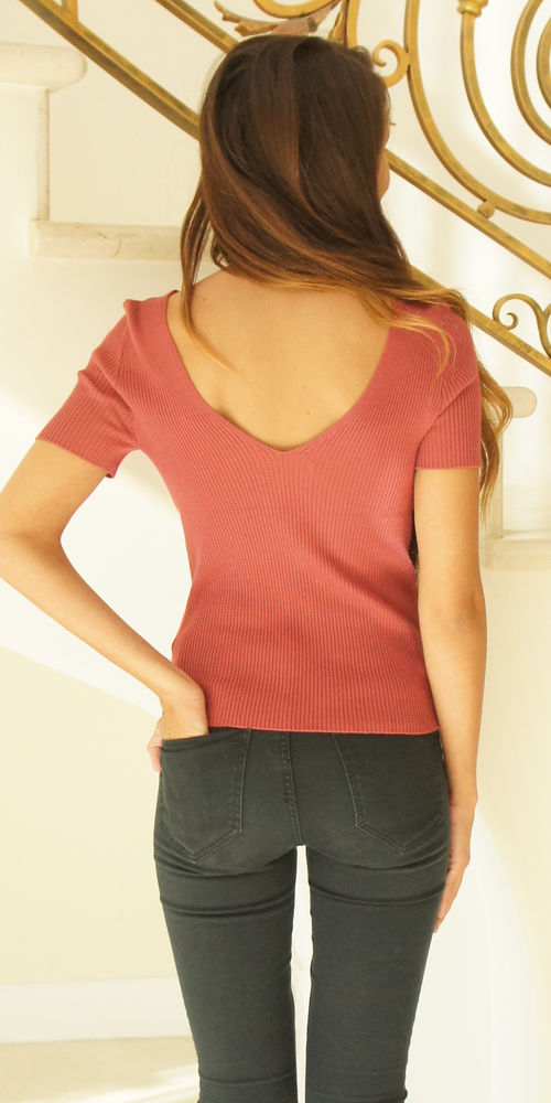 Mauve Red Double V Neck Ribbed Sweater Knit Top