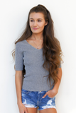 Grey Double V Neck Ribbed Sweater Top
