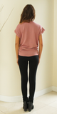Pink Oversized Terry Knit Lace Up T-Shirt