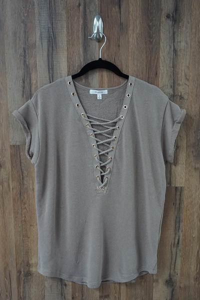 Beige Oversized Terry Knit Lace Up T-Shirt