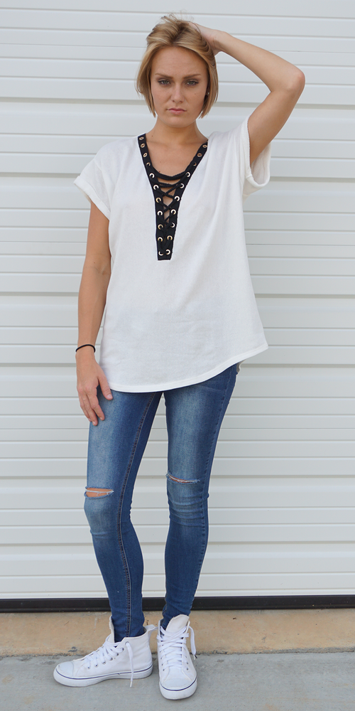 White Oversized Terry Knit Lace Up T-Shirt