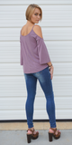 Purple Modal Criss Cross Cold Shoulder Top