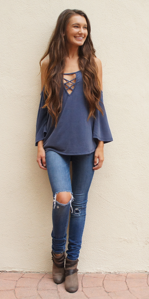 Blue Modal Criss Cross Cold Shoulder Top